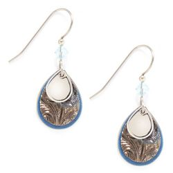 Silver Forest Blue Triple Layer Earrings