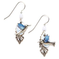 Silver Forest Hummingbird On Cloud Earrings
