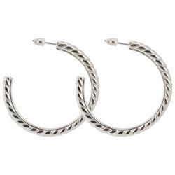 C. Wonder Silver Tone Textured Hoop Earrings