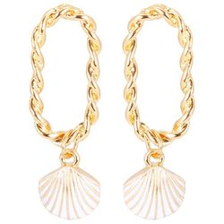C. Wonder Twist Open Oval Gold Tone Shell Drop Earrings