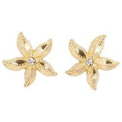 C. Wonder Gold Tone Rhinestone Starfish Stud Earrings