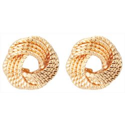 C. Wonder Textured Knot Gold Tone Stud Earrings