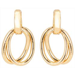 C. Wonder Double Oval Gold Tone Drop Earrings