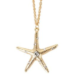 C. Wonder Gold Tone Rhinestone Starfish Pendant Necklace