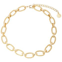 C. Wonder Gold Tone Oval Textured Link Necklace