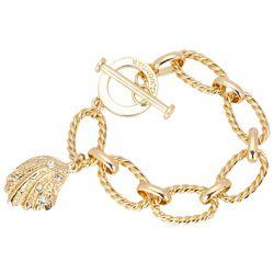 C. Wonder Gold Tone Textured Link Shell Charm Bracelet
