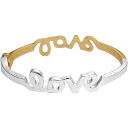 FROM THE HEART Two Tone Love Hinged Bangle