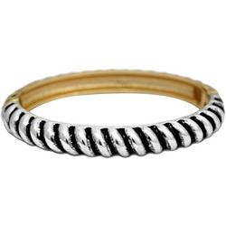 FROM THE HEART Two Tone Textured Hinged Bangle