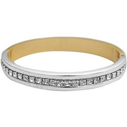 FROM THE HEART Rhinestone Two Tone hinged Bangle