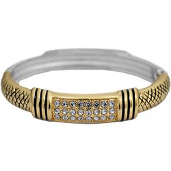 FROM THE HEART Two Tone Crystal Grid Ornate Bangle Bracelet