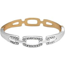FROM THE HEART Rhinestone Two Tone Open Bangle