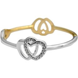 FROM THE HEART Two Tone Double Heart Hinge Bangle