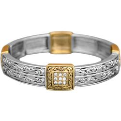 FROM THE HEART Square Scroll Two Tone Bracelet