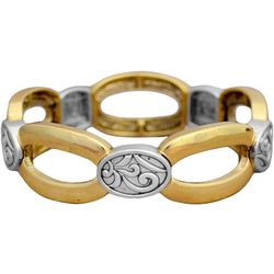FROM THE HEART Two Tone Open Oval Stretch Bracelet