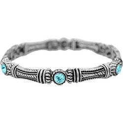 FROM THE HEART Aqua Stone Textured Column Bracelet