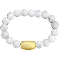 FROM THE HEART White Marble Bead Stretch Bracelet