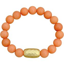 FROM THE HEART Coral Marble Beaded Stretch Bracelet