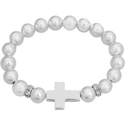 FROM THE HEART Silver Tone Cross Beaded Bracelet