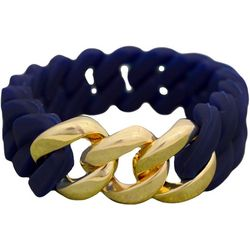 FROM THE HEART Navy Blue Silicone Stretch Bracelet