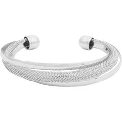 FROM THE HEART Silver Tone Mesh Twist Cuff Bracelet