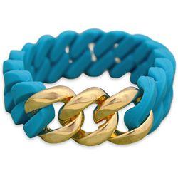 FROM THE HEART Aqua Silcone Link Stretch Bracelet