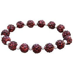 FROM THE HEART Garnet Red Pave Rhinestone Stretch Bracelet