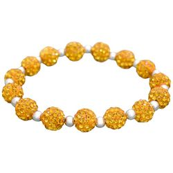 FROM THE HEART Yellow Pave Rhinestone Bead Stretch Bracelet