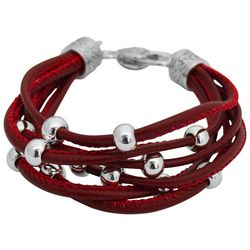 FROM THE HEART Garnet Red Cord & Bead Team Bracelet