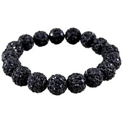 FROM THE HEART Game Day Black Rhinestone Stretch Bracelet