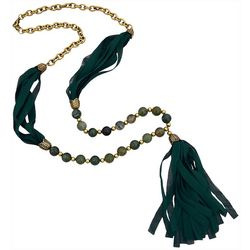 FROM THE HEART Green Bead & Tassel Necklace