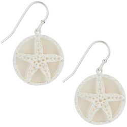 Bamboo Trading Co. Silver Tone Round Starfish Drop Earrings