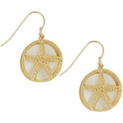 Bamboo Trading Co. Gold Tone Round Starfish Drop Earrings