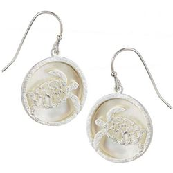 Bamboo Trading Co. Silver Tone Round Sea Turtle Earrings