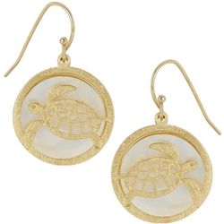 Bamboo Trading Co. Gold Tone Round Sea Turtle Earrings