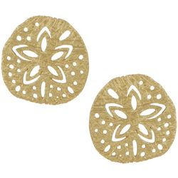 Bamboo Trading Co. Gold Tone Sand Dollar Stud Earrings