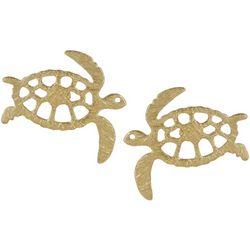 Bamboo Trading Co. Gold Tone Sea Turtle Stud Earrings