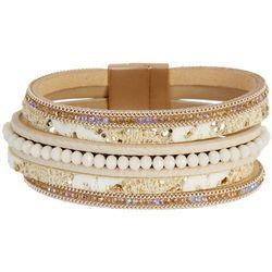 SAACHI 5 Row Natural Leather & Facet Bracelet
