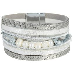SAACHI Silver Tone Mixed Pearl Leather Bracelet