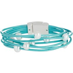 SAACHI 7 Row Aqua Leather & Pearl Bracelet