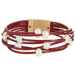 SAACHI 7 Row Red Leather & Pearl Bracelet