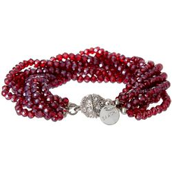 SAACHI Red Sangria Multi Glass Beaded Bracelet