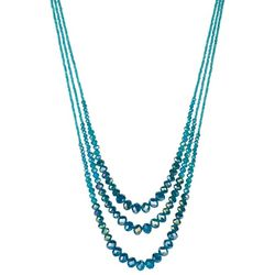 SAACHI Teal Glass Triple Bead Layered Necklace
