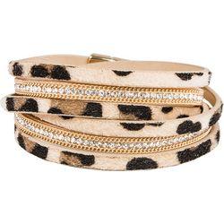 SAACHI Multi Row Leopard Printed Wrap Bracelet
