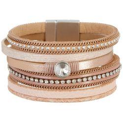 SAACHI Pink & Tan Multi Row Rhinestone Bracelet