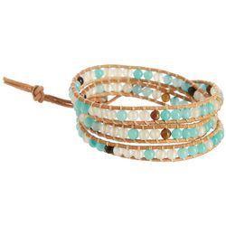 SAACHI Aqua Clear Multi Bead Wrap Leather Bracelet