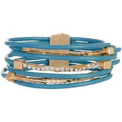 SAACHI Blue Leather & Bar Rhinestone Bracelet