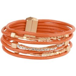 SAACHI Orange Multi Leather & Bar Bracelet