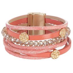 SAACHI Coral Multi Leather & Glass Bead Bracelet
