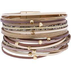 SAACHI Taupe Multi Row Magnetic Closure Bracelet