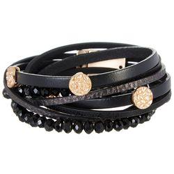 SAACHI Black Leather & Bead Double Wrap Bracelet